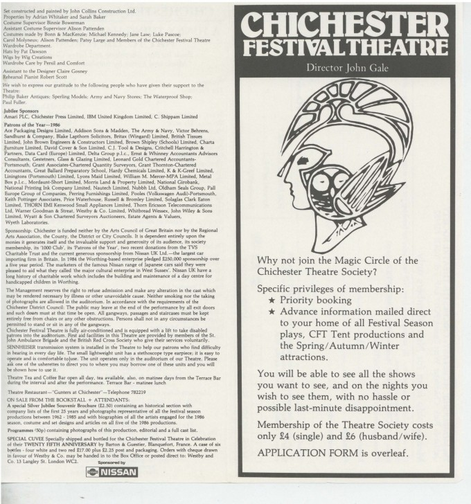 Cast List - A Funny Thing Happened On The Way To The Forum - 1986 - 1 of 2