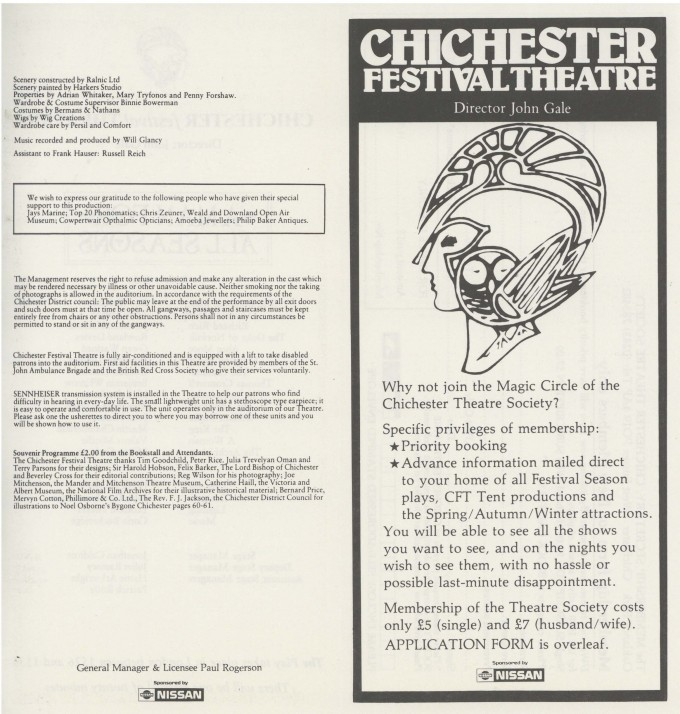 Cast List - A Man For All Seasons - 1987 - 1 of 2