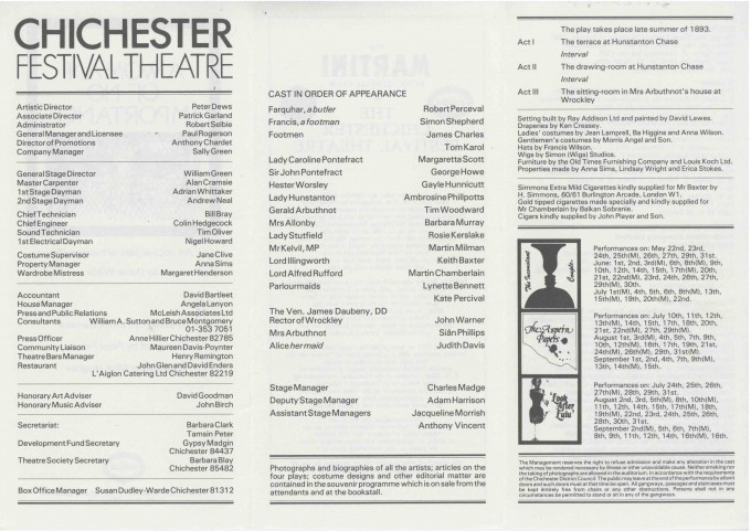 Cast List - A Woman of no Importance  - 1978-  2 of 2