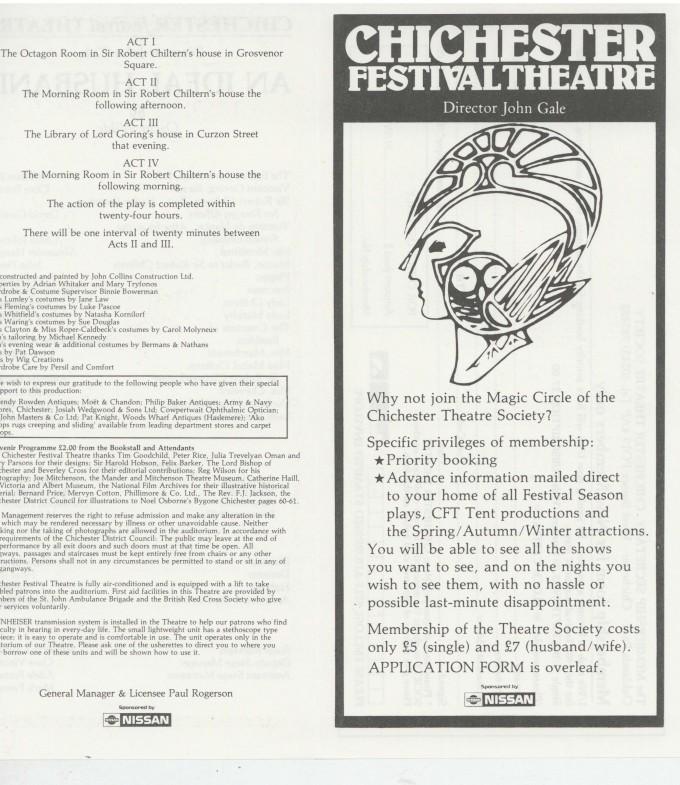 Cast List - An Ideal Husband - 1987 - 1 of 2