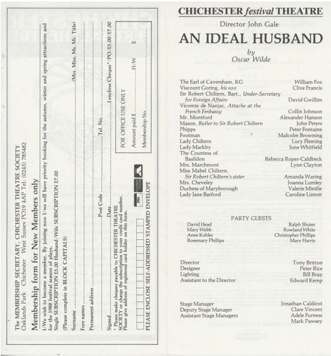 Cast List - An Ideal Husband - 1987 - 2 of 2