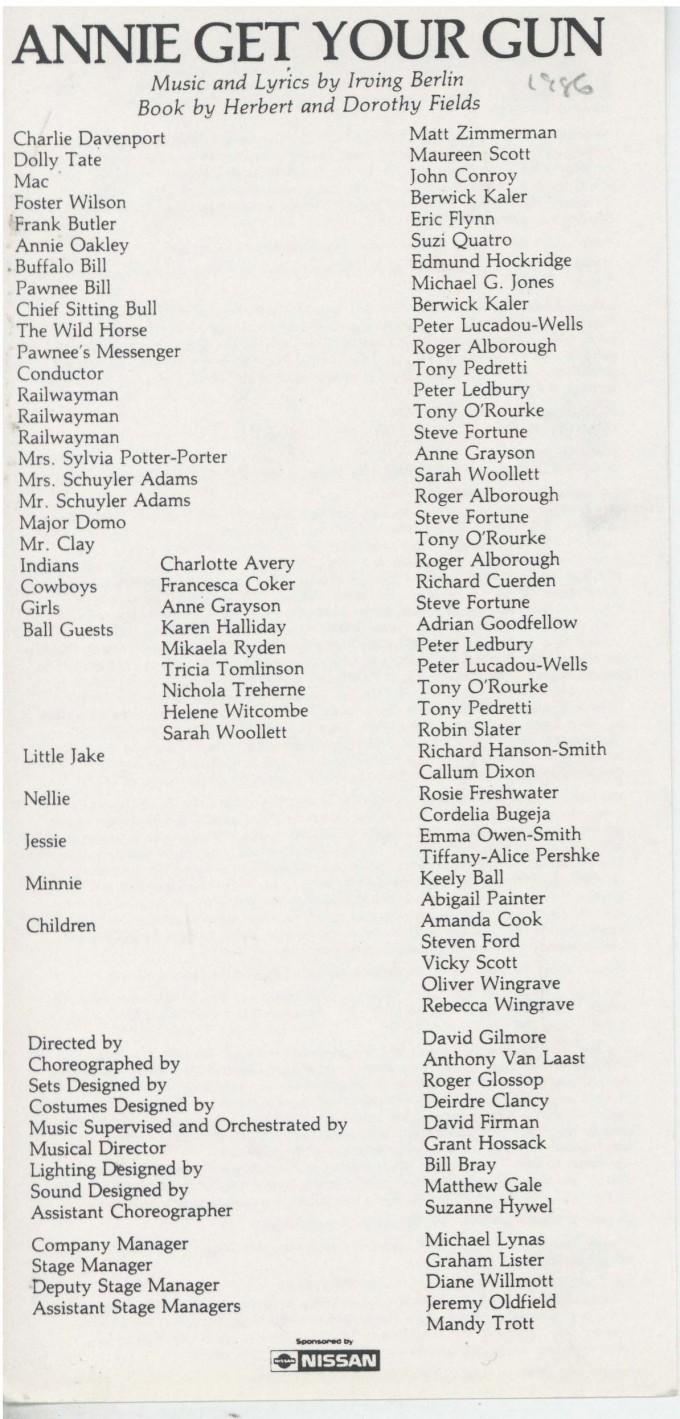 Cast List - Annie Get Your Gun -  1986 - 1 of 2