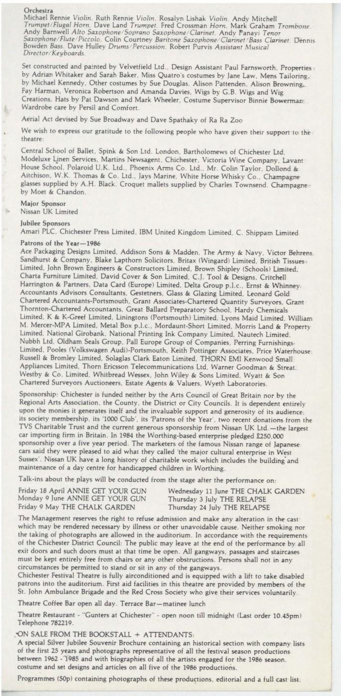 Cast List - Annie Get Your Gun -  1986 - 2 of 2