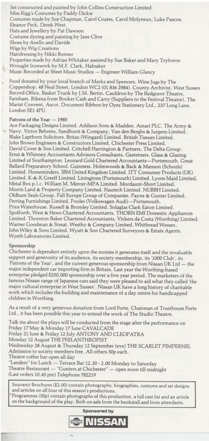 Cast List - Anthony and Cleopatra - 1985 - 2 of 2