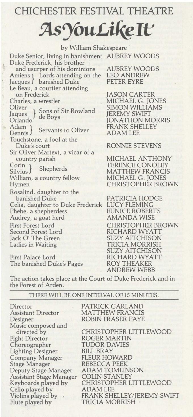 Cast List - As You Like It - 1983 - 1 of 2