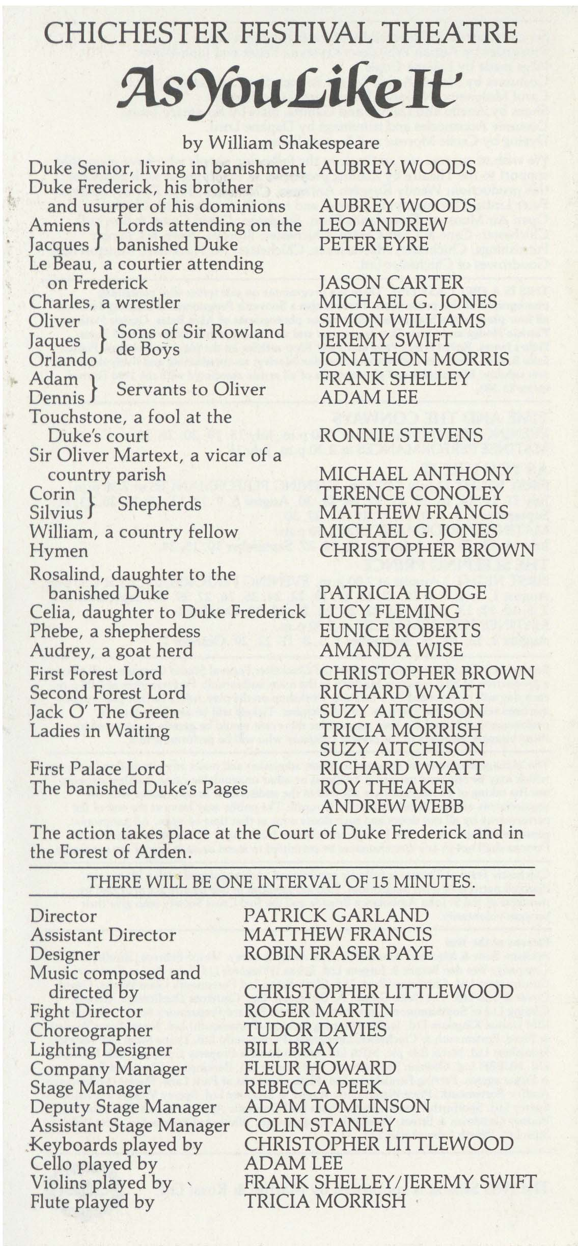 Cast List - As You Like It - 1983 - 1 of 2