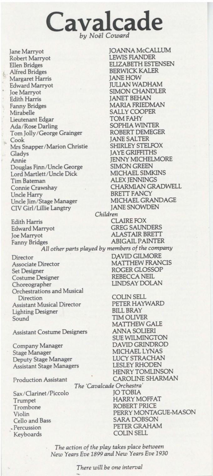 Cast List - Cavalcade - 1985 - 1 of 2