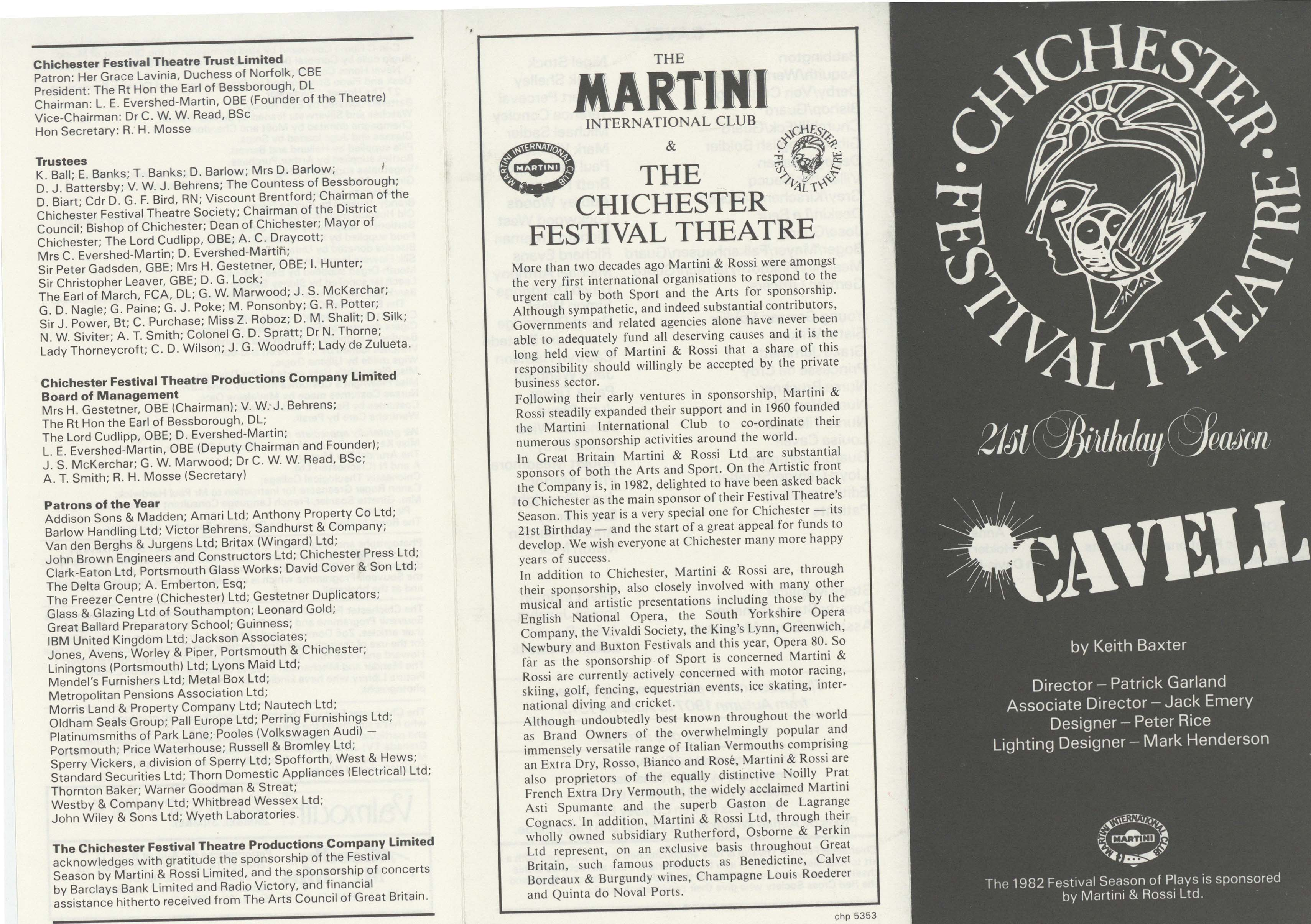 Cast List - Cavell - 1982 - 1 of 2