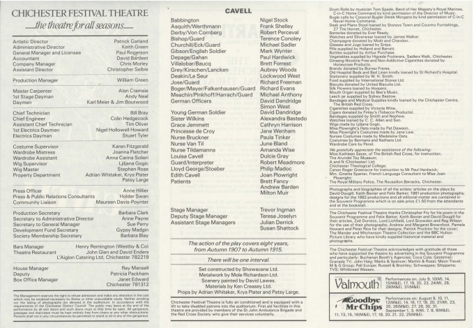 Cast List - Cavell - 1982 - 2 of 2