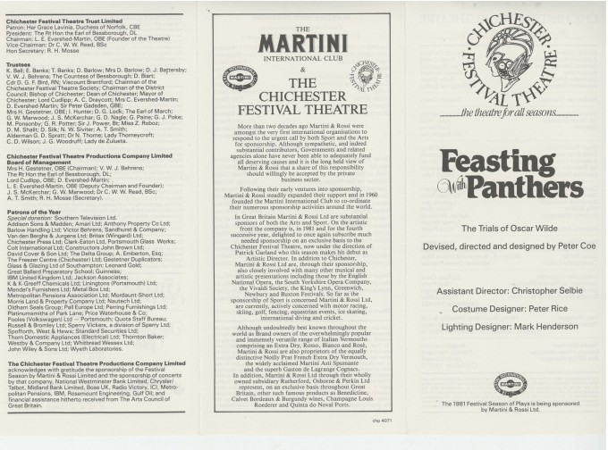 Cast List - Feasting with Panthers - 1981 - 1 of 2