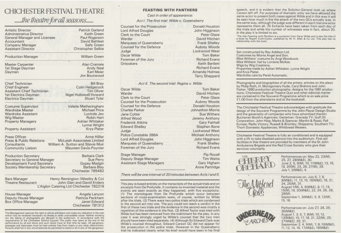 Cast List - Feasting with Panthers - 1981 - 2 of 2