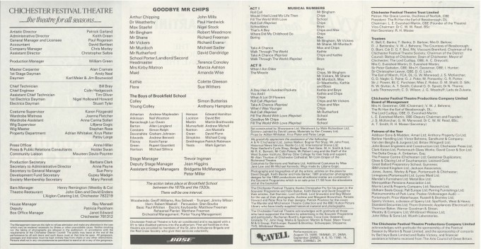 Cast List - Goodbye Mr Chips - 1982 - 2 of 2
