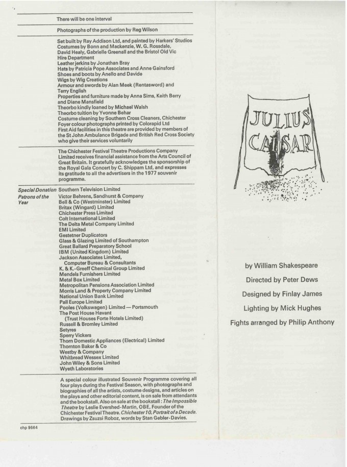 Cast List - Julius Caesar  - 1977- 1 of 2