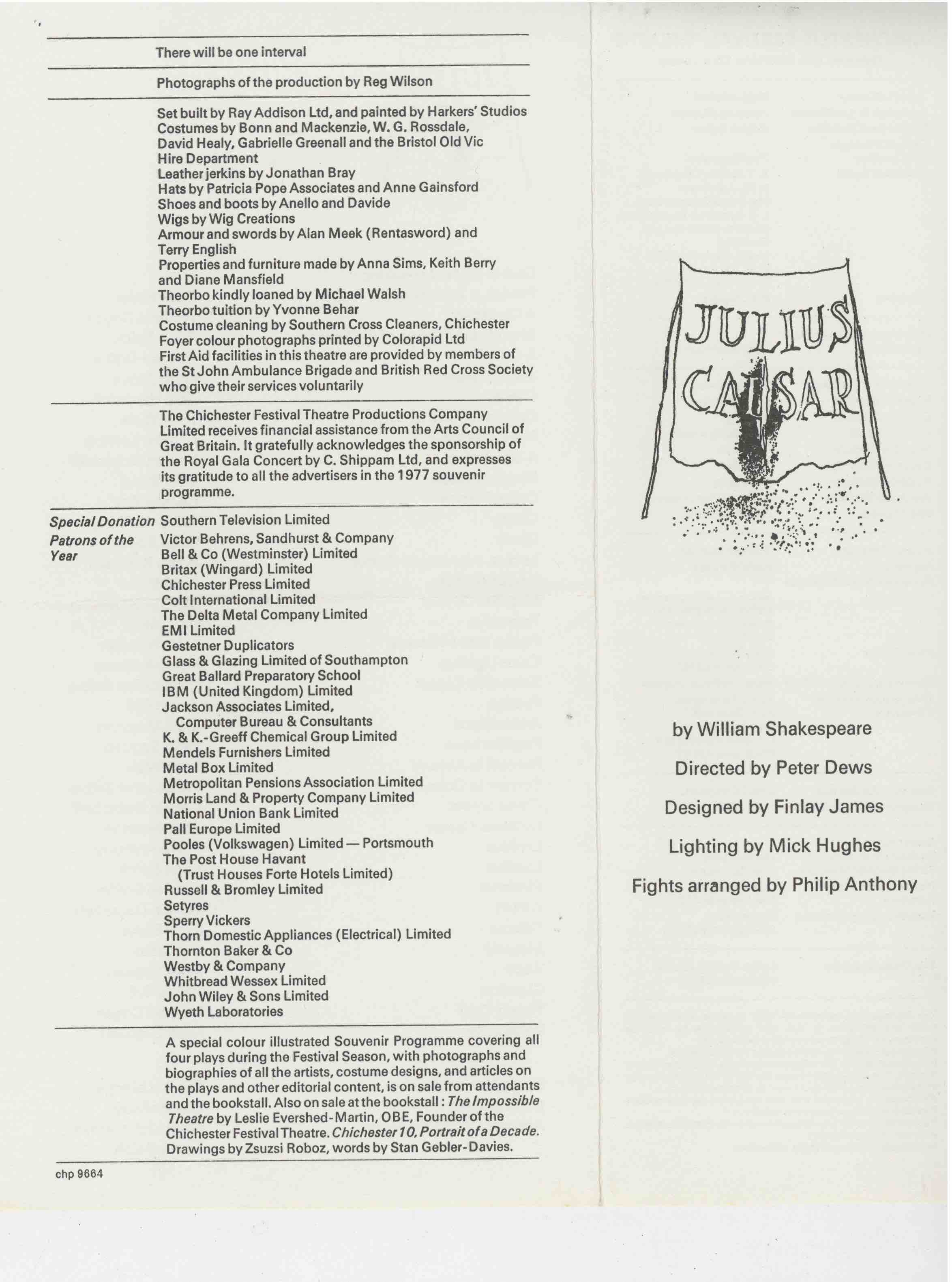 Cast List - Julius Caesar  - 1977- 1 of 2