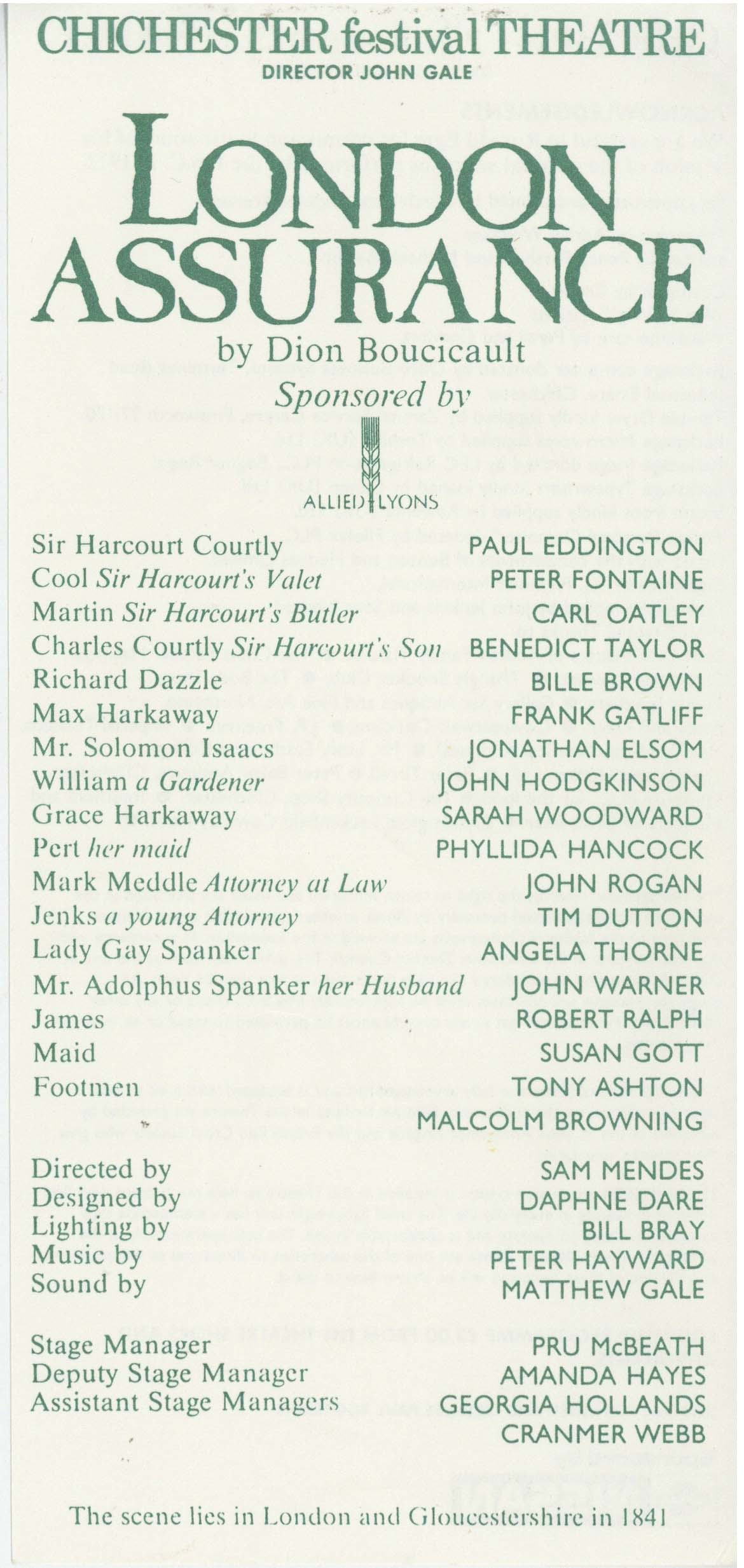Cast List - London Assurance - 1989 - 1 of 2