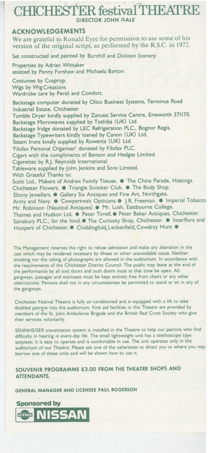 Cast List - London Assurance - 1989 -  2 of 2