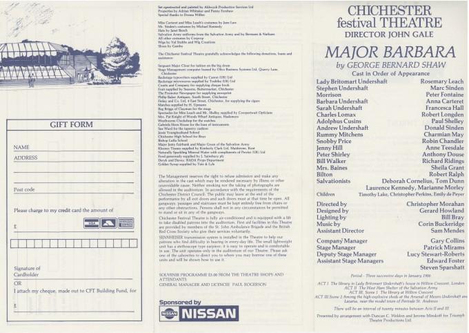 Cast List - Major Barbara - 1988 - 1 of 2