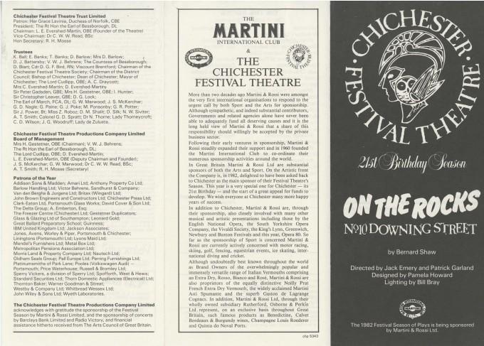 Cast List - On The Rocks - 1982 - 1 of 2