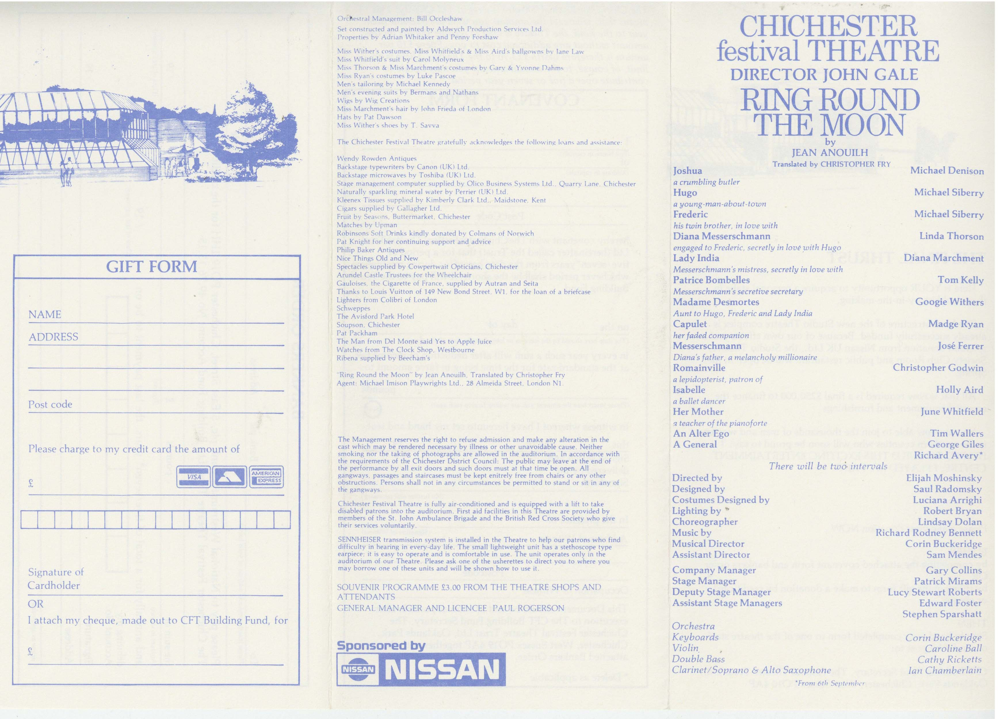 Cast List - Ring Round The Moon - 1988 - 1 of 2