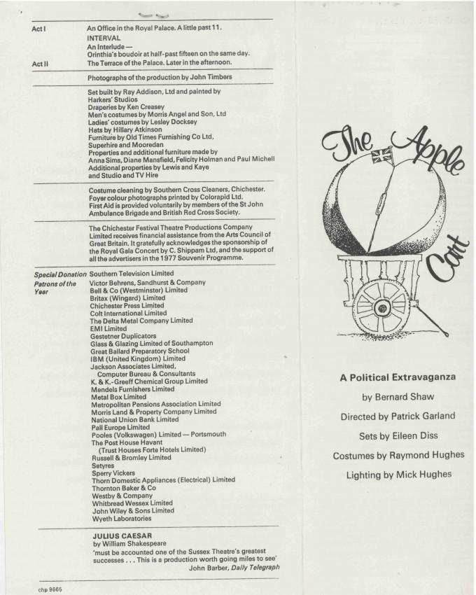 Cast List - The Apple Cart  - 1977- 1 of 2