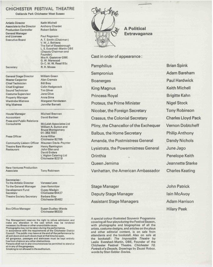 Cast List - The Apple Cart  - 1977- 2 of 2