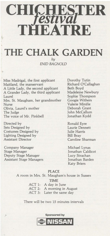 Cast List - The Chalk Garden - 1986 - 1 of 2