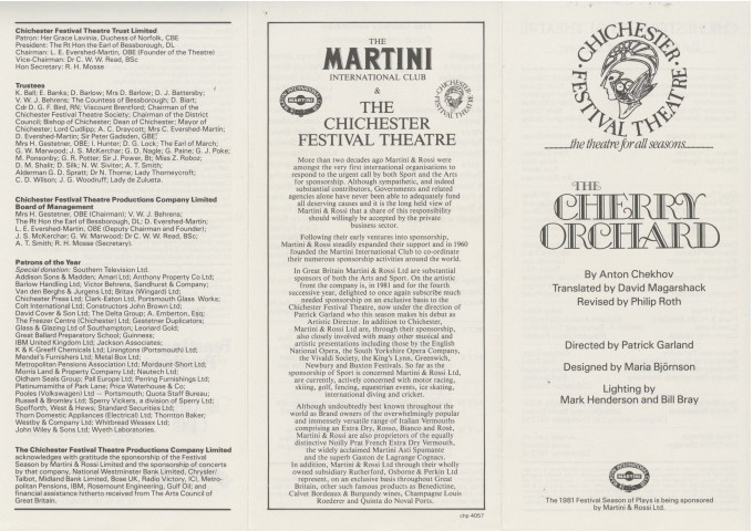 Cast List - The Cherry Orchard - 1981 - 1 of 2
