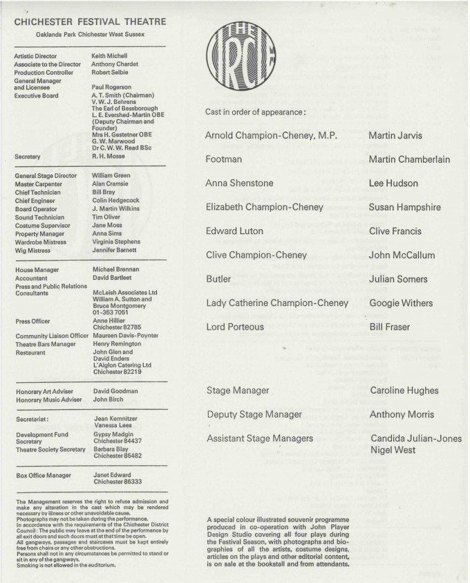 Cast List - The Circle  - 1976- 2 of 2