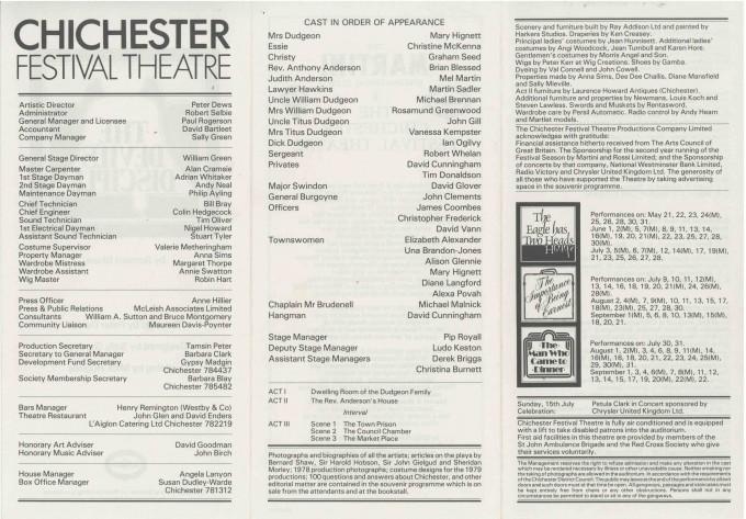Cast List - The Devil's Disciple  - 1979-  2 of 2