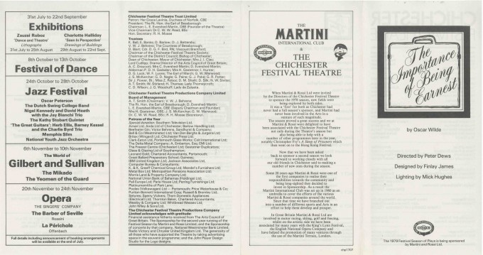 Cast List - The Importance of Being Earnest - 1979-  1 of 2