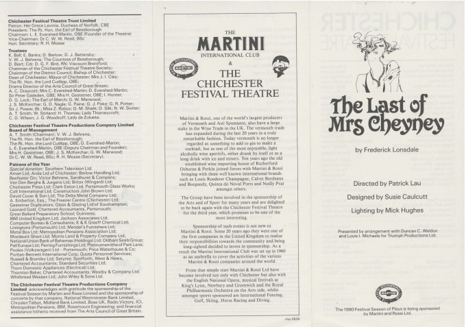 Cast List - The Last of Mrs Cheyney - 1980 - 1 of 2