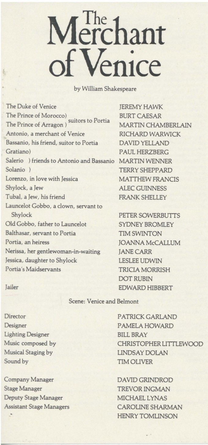 Cast List - The Merchant of Venice - 1984 - 1 of 2