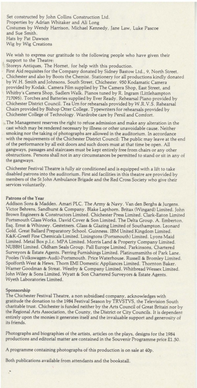 Cast List - The Merchant of Venice - 1984 - 2 of 2