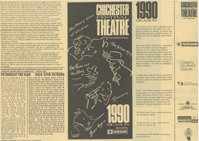 Cast List - The Merry Wives of Windsor - 1990 - 2 of 2