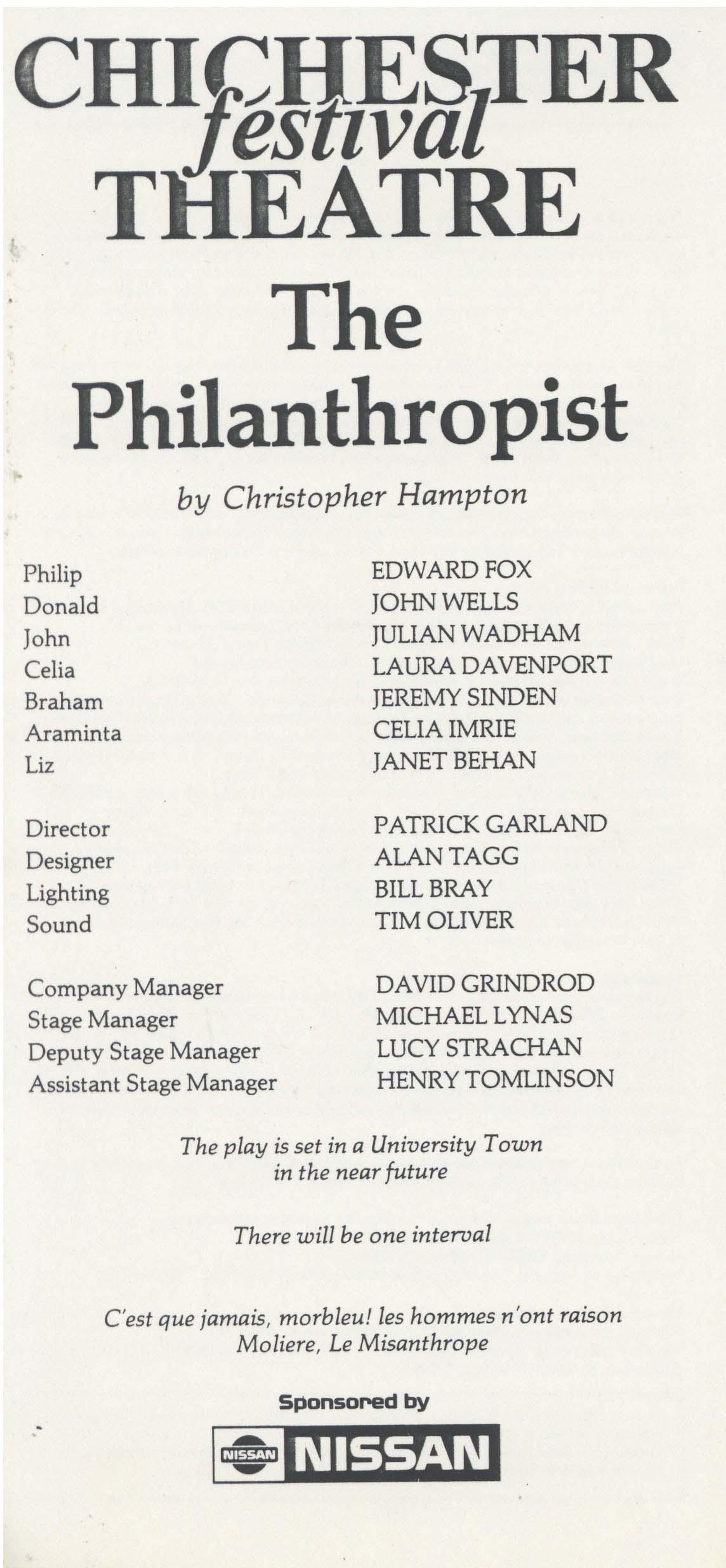 Cast List - The Philanthropist - 1985 - 1 of 2
