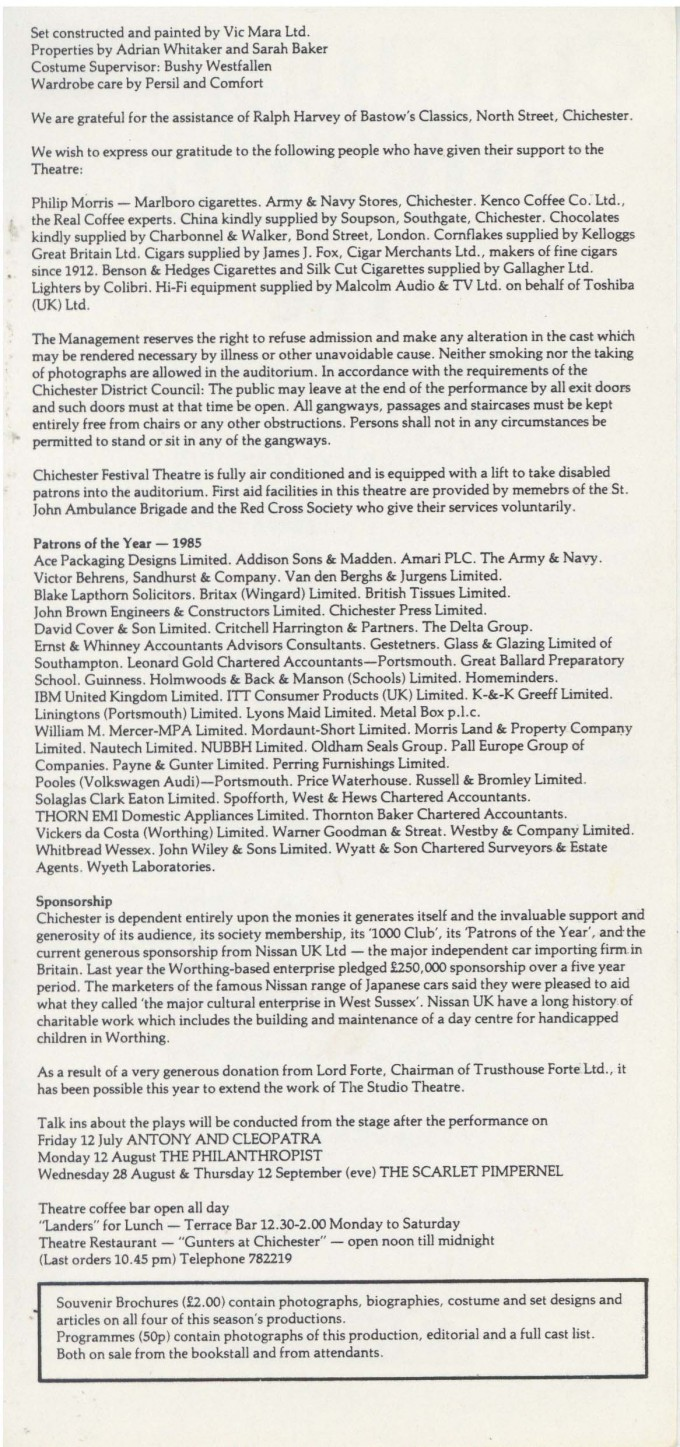 Cast List - The Philanthropist - 1985 - 2 of 2