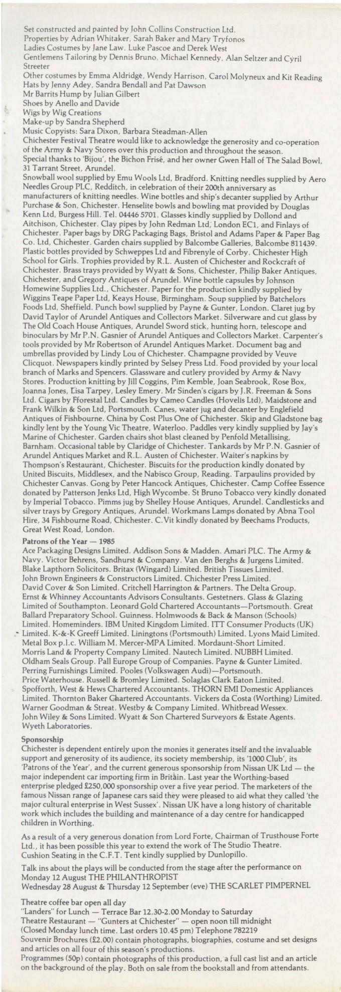 Cast List - The Scarlet Pimpernel - 1985 - 2 of 2