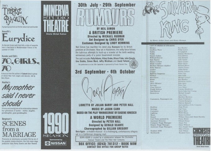 Cast List - The Silver King - 1990 - 1 of 2