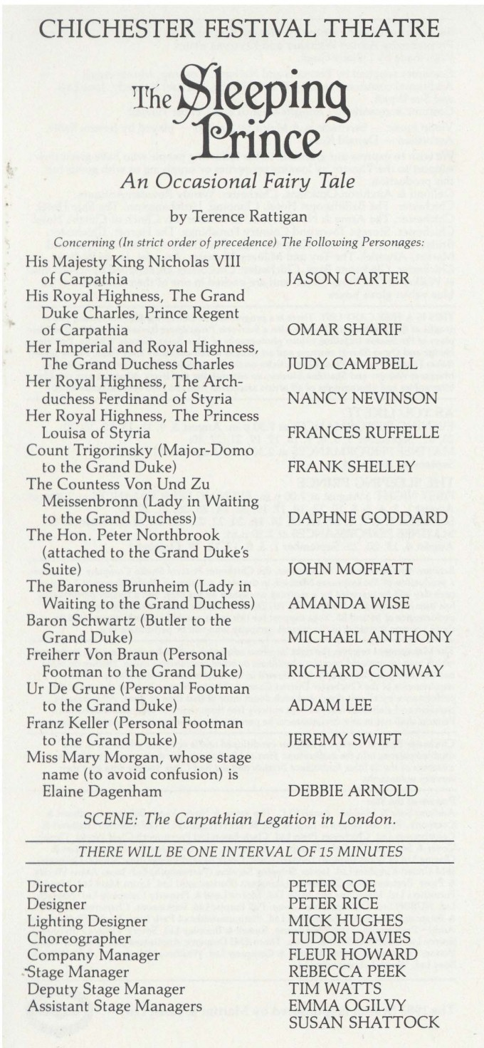 Cast List - The Sleeping Prince - 1983 - 1 of 2
