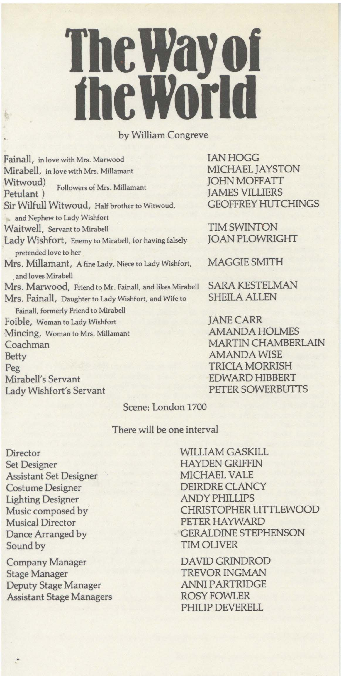Cast List - The Way of the World - 1984 - 1 of 2