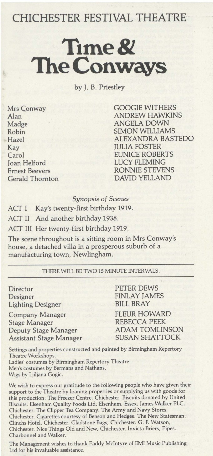 Cast List - Time and the Conways - 1983 - 1 of 2
