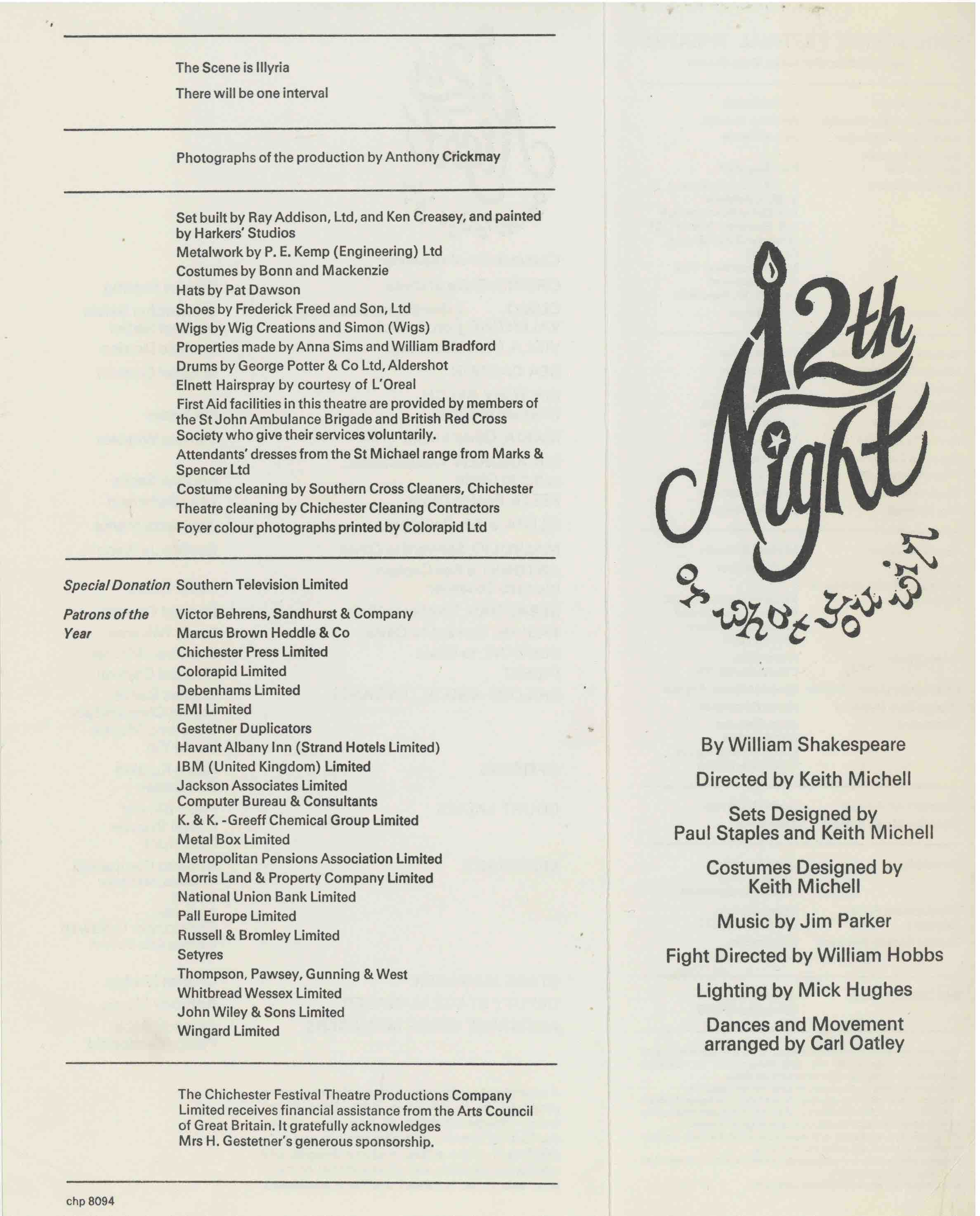 Cast List - Twelfth Night  - 1976- 1 of 2