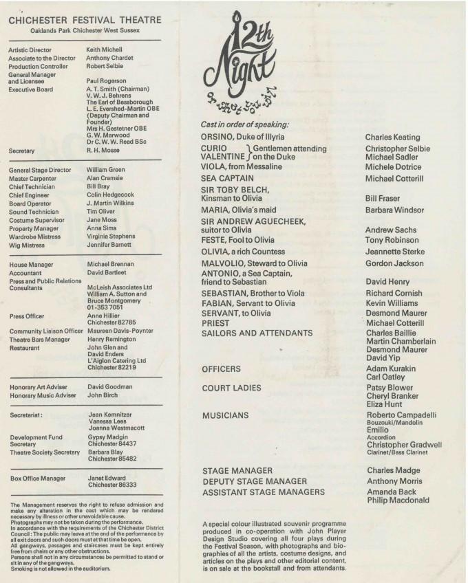 Cast List - Twelfth Night  - 1976- 2 of 2