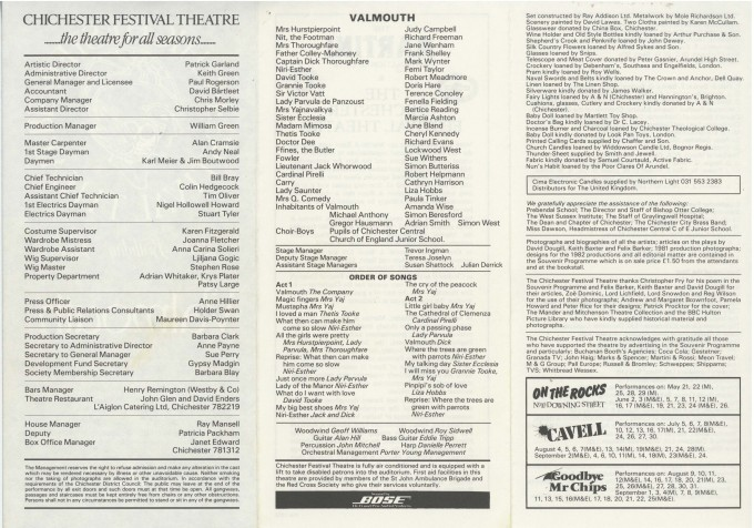 Cast List - Valmouth - 1982 - 2 of 2