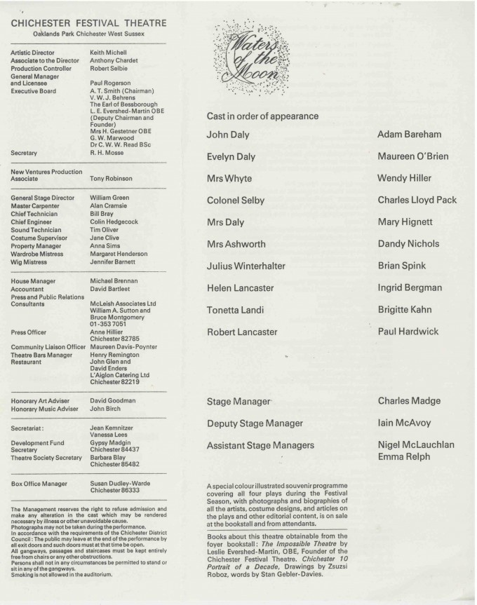 Cast List - Waters of the Moon  - 1977- 1 of 2