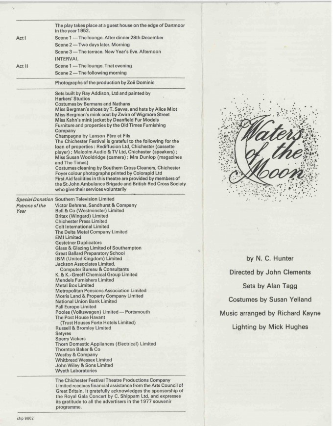 Cast List - Waters of the Moon  - 1977- 2 of 2
