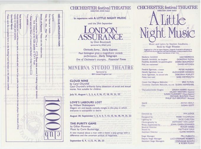 Cast List - A Little Night Music - 1989 - 1 of 2