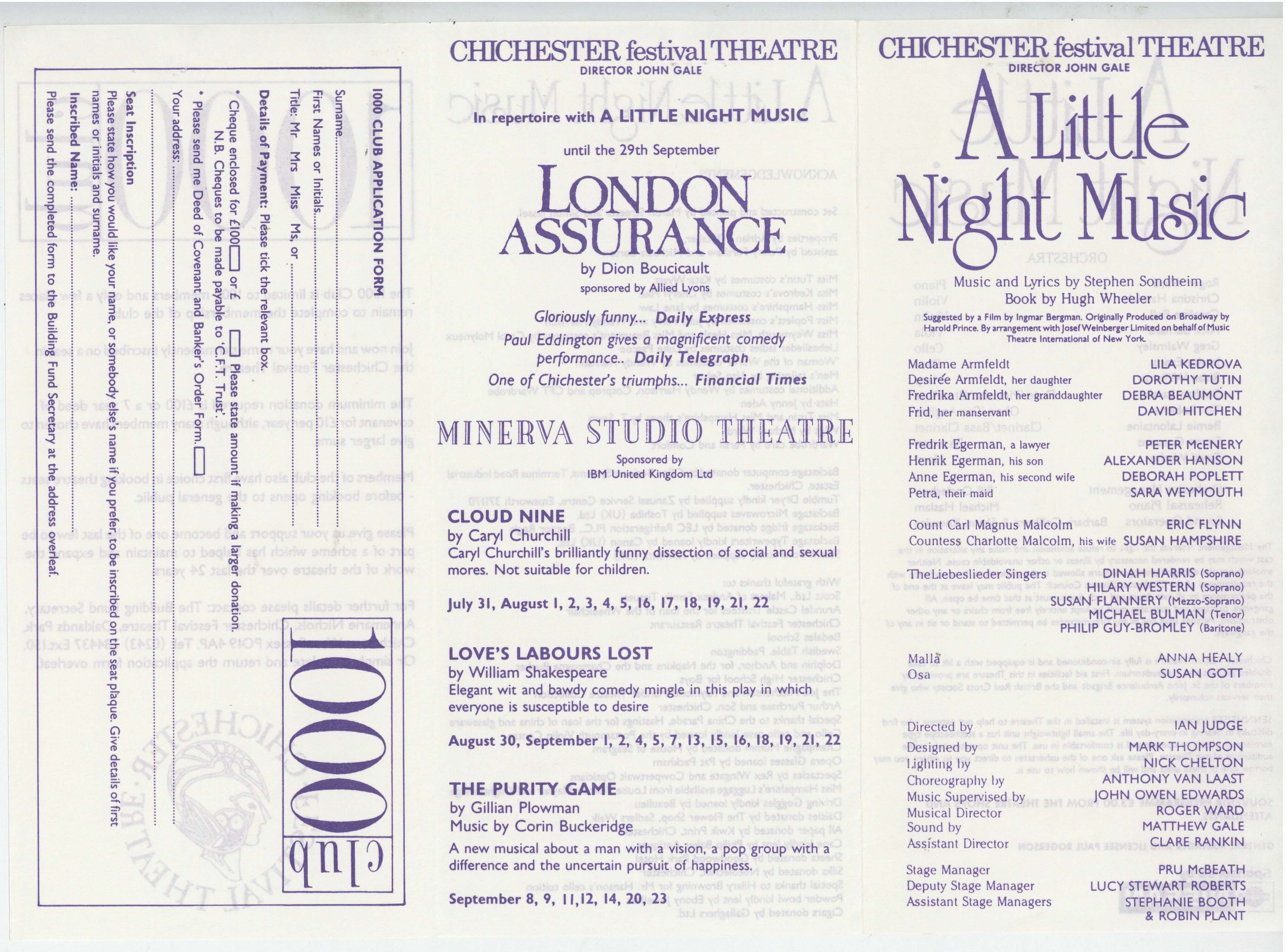 Cast List - A Little Night Music - 1989 - 1 of 2