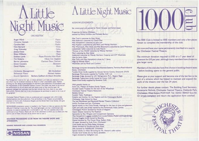 Cast List - A Little Night Music - 1989 - 2 of 2