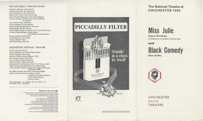Cast List - Miss Julie, Black Comedy - 1965 - 1 of 2